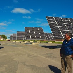 Carl Flora, president of the Loring Development Authority, talks about the installation of hundreds of solar panels on the old air force base in September 2014. On Tuesday, the LDA announced a lease agreement with Yarmouth-based Ranger Solar for a project that would use more than 100,000 solar panels and could power between 20,000 and 30,000 homes.