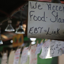 A store in St. Louis, Missouri, indicates it accepts food stamps.