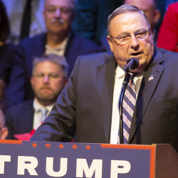 Gov. Paul LePage introduces Republican presidential candidate Donald Trump during a rally in August in Portland.