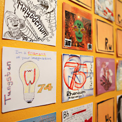 "One highlight of the exhibit ""Created in the Lab: Interpreting Science through Comics"" is the rendition of the 120-element Periodic Table, created by dozens of graphic artists around the country displayed Saturday at the Waterfall Arts Gallery in Belfast. The exhibit runs Friday, Sept. 23, through Friday, Nov. 11."