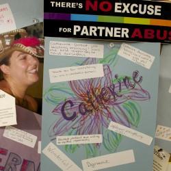 Spruce Run-Womancare Alliance volunteers talk about domestic violence.