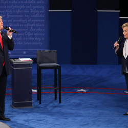 Donald Trump and and Hillary Clinton on stage during the second debate between the Republican and Democratic presidential candidates on Sunday, Oct. 9, 2016 at Washington University in St. Louis, Missouri.