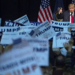 Presumptive Republican presidential nominee Donald Trump speaks during a campaign rally on Wednesday at the Cross Insurance Center in Bangor.