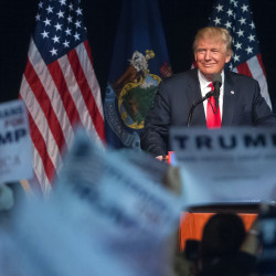 Presumptive Republican presidential nominee Donald Trump speaks during a campaign rally at the Cross Insurance Center in Bangor, June 29, 2016.