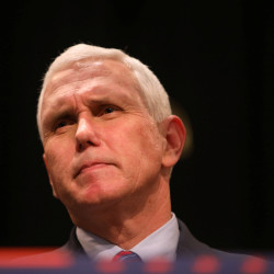 Republican vice presidential nominee Mike Pence looks at the crowd during a campaign event at the Des Moines Area Community College in Newton, Iowa, Oct. 11, 2016.