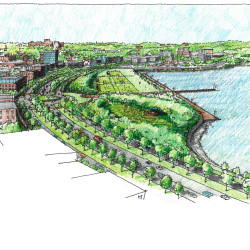 A rendering of what the redesigned site between Congress Street and Tukey's Bridge could look like.