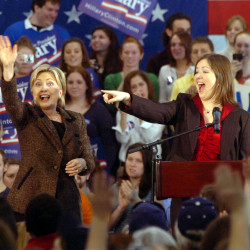 "Maine Rep. Emily Cain (D-Orono) introduces her ""new best friend"" Democratic presidential candidate Hillary Clinton at her ""Solutions for America"" town hall meeting at the University of Maine in Orono, Feb. 9, 2008."
