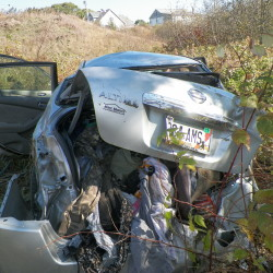 Jordan Agger, 20, was injured Monday morning when her car overturned five times off West River Road in Sidney, police said.