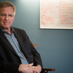 Travel writer and TV personality Rick Steves tells the press on Monday why he gave $100,000 towards getting pot legalized in Maine before an evening talk at the University of New England in Portland.