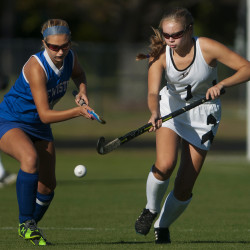 Skowhegan's Julia Steeves (right) and Lewiston's Kasey Talarico battle for the ball during their field hockey game at Skowhegan on Oct. 4.