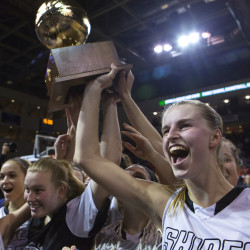 Houlton players celebrate after defeating Gray-New Gloucester in the Class B girls state championship basketball game at the Cross Insurance Center in Bangor in this February 2016 file photo.