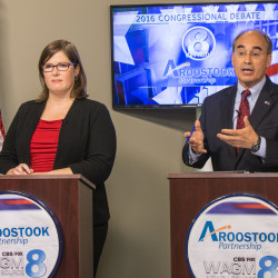 Incumbent Bruce Poliquin makes a point while answering a question from a local resident in the 2016 Congressional debate between himself and Challenger Emily Cain held at WAGM Television Station in Presque Isle.