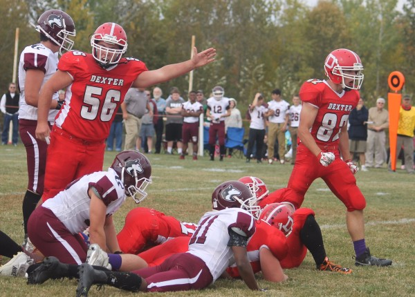 Sophomore David Kirshkaln has no doubt which team has the football after an MCI fumble in the first quarter (to the right is senior Chandler Perkins), Oct. 10, 2016.