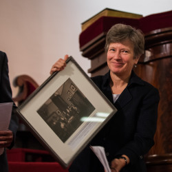 Mary Bonauto, the Portland attorney who successfully argued for marriage equality before the United States Supreme Court, receives the Maine History Maker Award from the Maine History Maker Award.