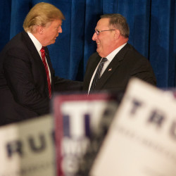 Republican presidential candidate Donald Trump shakes hands with Maine Gov. Paul LePage at a campaign rally in Portland in March.