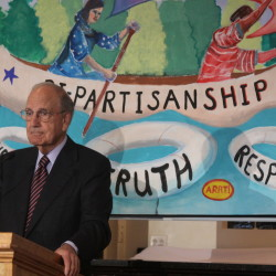 Former U.S. Sen. George Mitchell speaks at forum sponsored by the Maine Council of Churches about civil discourse in politics on Thursday in Waterville. More than 100 clergy members from around the state attended.