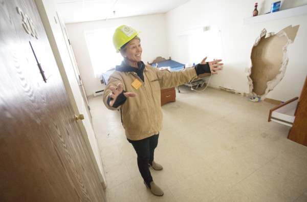 Amy McLellan recently shows one of the undemolished rooms of the former nursing home she purchased and is renovating into an &quotage-in-place&quot home for retirement-age people called The McLellan on Cumberland Street in Brunswick.