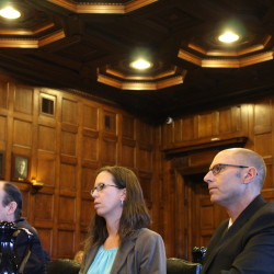 Gregory Nisbet (right) sits with his lawyers, Sarah Churchill and Matthew Nichols, during the closing arguments in Friday's manslaughter trial.