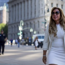 New York financier Lynn Tilton arrives for an appeal hearing at the U.S. District courthouse in New York in 2015.