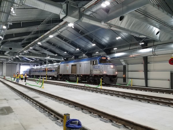 A train recently pulls into the Amtrak Downeaster Layover Facility in Brunswick.