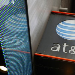 The signage for an AT&T store is seen in New York, New York, in this October 2014 file photo.