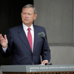 U.S. Supreme Court Chief Justice John Roberts speaks at the dedication of the Smithsonian's National Museum of African American History and Culture on Sept. 24 in Washington. Roberts and his wife recently purchased a home on Hupper Island in Maine.