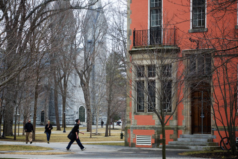 Students walk near the chapel on the Bowdoin College campus in Brunswick in this March 2016 file photo.
