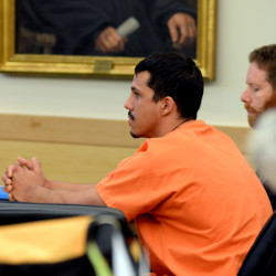 Christopher Saenz, an Ellsworth man accused of killing his wife on Christmas Day in 2013, was found guilty of depraved indifference murder by a Superior Court judge on July 6, 2015, at the Penobscot Judicial Center in Bangor.