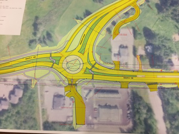 A map of the Maine Department of Transportation's planned roundabout at the junction of Route 2 and University of Maine's Rangeley Road can be seen during a public hearing on the project on Tuesday in Orono.