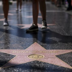 The star of U.S. Republican presidential candidate Donald Trump is pictured on the Hollywood Walk of Fame in Hollywood, California, April 5, 2016.