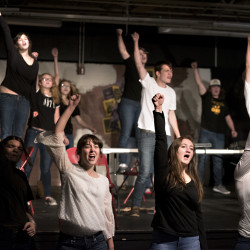 "The cast performs during a rehearsal of Orono High School's production of ""Rent"" recently in Orono."