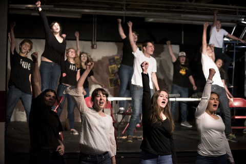 The cast performs during a rehearsal of Orono High School's production of &quotRent&quot recently in Orono.