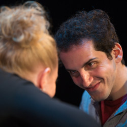 "Jason Cohen makes a face at Danielle Erin Rhodes practicing for their Penobscot Theatre Company show ""Murder For Two."""
