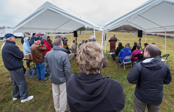 Municipal Review Committee Executive Director Greg Lounder speaks during the groundbreaking ceremony for the Fiberight municipal solid waste and recycling facility on Wednesday in Hampden.