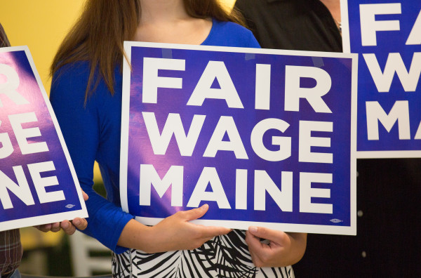 Local business owners back the minimum wage referendum during a press conference at Fork and Spoon in Bangor in this June 2016 file photo.
