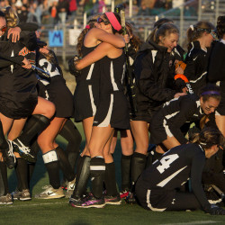 Skowhegan celebrates after defeating Messalonskee during their North Class A field hockey championship game on Wednesday at Hampden Academy in Hampden. Skowhegan won 3-2.