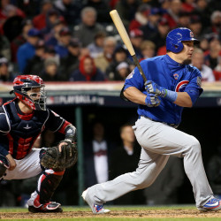 The Chicago Cubs' Kyle Schwarber hits an RBI single in the third inning against the Cleveland Indians during Game 2 of the World Series on Wednesday, Oct. 26, 2016, at Progressive Field in Cleveland. The Cubs won, 5-1, to even the series.