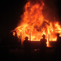 The Camden Fire Department set fire to a house on Thomas Street in May for a scene in the movie Island Zero.