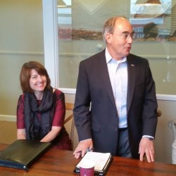U.S. House Republican Conference Chairwoman Cathy McMorris Rodgers (left) campaigns for U.S. Rep. Bruce Poliquin on Friday at Quoddy Inc. in Lewiston.