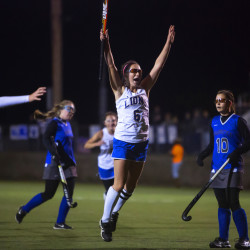 Belfast's Kylie Nelson (center) celebrates after scoring against Lawrence during their Class B North field hockey championship game on Wednesday at Hampden Academy in Hampden.