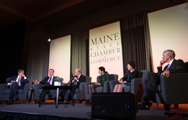 Maine's two current and three former U.S. senators speak on a panel at the Cross Insurance Center in Bangor Friday evening during the Maine State Chamber of Commerce annual dinner. Moderator John Harwood (from left), chief Washington correspondent for the Washington Post, William S. Cohen, George Mitchell, Olympia Snowe, Susan Collins, and Angus King sit on the panel.