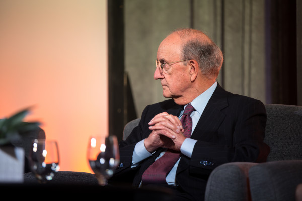 Former Sen. George Mitchell listens during a panel including five of Maine's current and former U.S. senators during the Maine State Chamber of Commerce annual dinner on Friday at the Cross Insurance Center in Bangor.