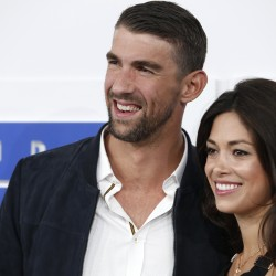 Olympic swimmer Michael Phelps and Nicole Johnson arrive at the 2016 MTV Video Music Awards in New York, Aug. 28, 2016.