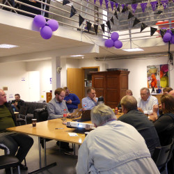 Members of the Icelandic Pirate Party are gathered at the party's headquarters in Reykjavik, Iceland, Sept. 19, 2016.