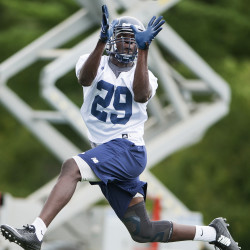 Jason Matovu of the University of Maine football team, pictured during an August practice, recovered a game-clinching fumble on Saturday in a 35-28 CAA win at William & Mary.