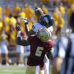 Micah Wright (81) of the University of Maine, pictured during a Sept. 2015 game at Boston College, has been among the Black Bears' catalysts on their punt-return team.