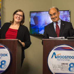 Incumbent U.S. Rep. Bruce Poliquin and challenger Emily Cain pose for a picture before the 2016 congressional debate held at WAGM Television Station in Presque Isle on Oct. 19.
