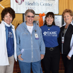 Among those taking part in last year's Health Fair were, from left, Allyson McQuade, supervisor of food services at TAMC's Aroostook Health Center in Mars Hill; Dr. Nancy O'Neill, a provider specializing in geriatrics and palliative care; Kelly Lundeen, director of AHC; and Vicki Jackson, activities specialist at AHC.   The Aroostook Health Center will be one of nearly 50 booths expected at this year's TAMC Health Fair on October 15.