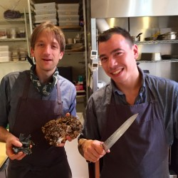 Chef David Levi of Vinland and Inunnguaq Hegelund of Greenland cookng up a collaboration in the Congress Street kitchen this week.