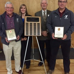 Old Town-Orono YMCA Heritage Club inductees Shawn Small (far left) and Jay Shorette (far right) pictured with Old Town-Orono YMCA CEO and Executive Director Debra Boyd and Board Chairman David Wight.